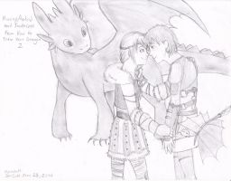 Hiccup and Astrid- and toothless of course ^^ by SoulCats