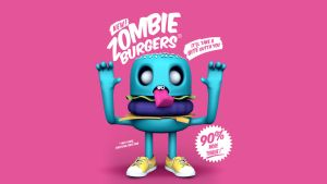 Zombie Burger 3D Wallpaper by giacko