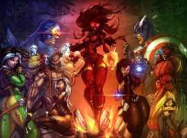 x-men vs avengers colors by JustArt27