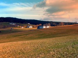 Meadows and farms in rural scenery by patrickjobst