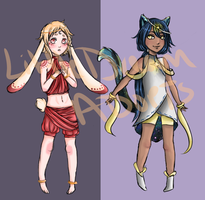 Moon Bunny and Star Cat[Closed] by LittleDreamerAdopts