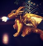 Golden Infinity the polymer clay dragon by vivalahill