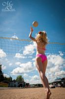 Beach Cosplay - Reaching for the Ball by maverickdelta