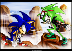 SONIC VS SCOURGE by Anzhyra