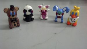 FNAF 2 Clay Pendants by CCEM