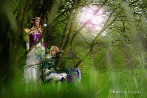 Link x Zelda - Resting under a tree by Eressea-sama