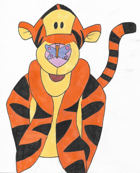Tigger and A Butterfly - Traditional Drawing by deadrockchariot