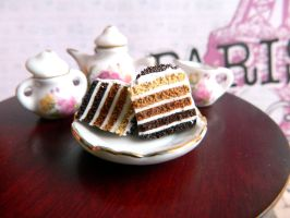 Mocha Ombre Cake Slice Charm by Xiiilucky13