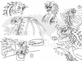 Dweller of the Waters sketchdump by ShardianofWhiteFire