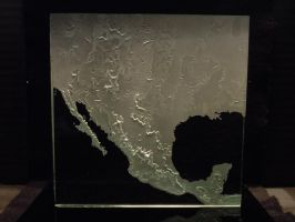 World Map - Etched Carved Glass - Sample section by ImaginedGlass