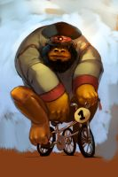 Russian Gorilla on a Tricycle by evildisco