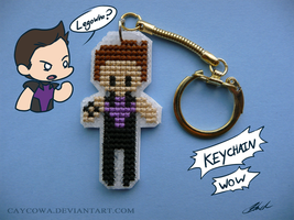 Hawkeye cross stitch keychain by caycowa