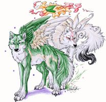 ::Winged Link and Amaterasu:: by WhiteSpiritWolf
