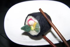 Needle felted California Sushi by manGoavocaDo