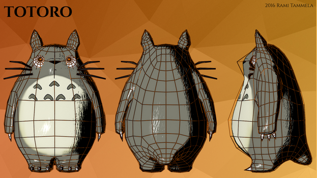 Totoro 3D model Wireframe by RamiT95