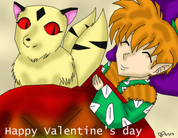 Happy Valentine's day from Shippo and Kirara by IcyRoads