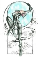 Catwoman Watercolor Pinup by JAWart728