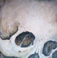 Skull painting on board by musicophilia