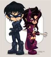 Lil Nightwing and Huntress by lordmesa
