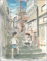 Sakamichi , A downtown step street in 70's by NORIMATSUKeiichi
