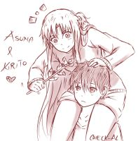 asuna and kirito :3 by checkal