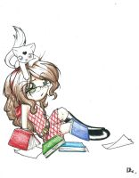 Dlie, cat and books by Dlie