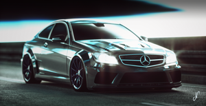 Merc C63 Amg Coupe static in the tunnel by mezwik