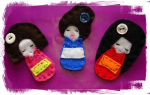 Kokeshi Dolls by CrazzyHatter