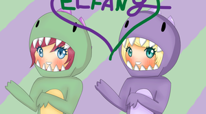 ...Dancing Dinosaurs....and HAPPY  BIRTHDAY ELFANY by xPotackyx