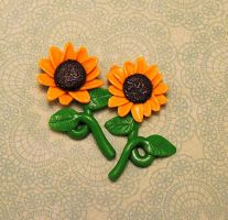 Commission - Sunflower Earrings by Bon-AppetEats