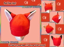 Red Fox Fleece Hat by AnimeNomNoms