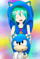 Miku and Classic Sonic by Baitong9194