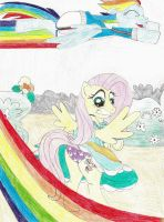 Rainbow Dash blows Fluttershy's skirt up by wjmmovieman