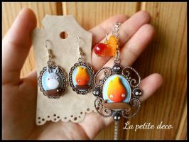 calcifer and totoro by lapetitedeco