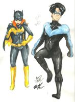 Batgirl and Nightwing by Rebeckalah