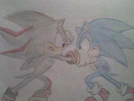 ::SonicX:: Sonic and Shadow by Rosalie-Sebastiane