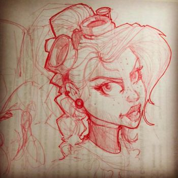 Steampunk Goggle Girl Sketch 8 by Pencilbags