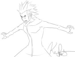 Kingdom Hearts: Axel Line Art by Kenny-Artist