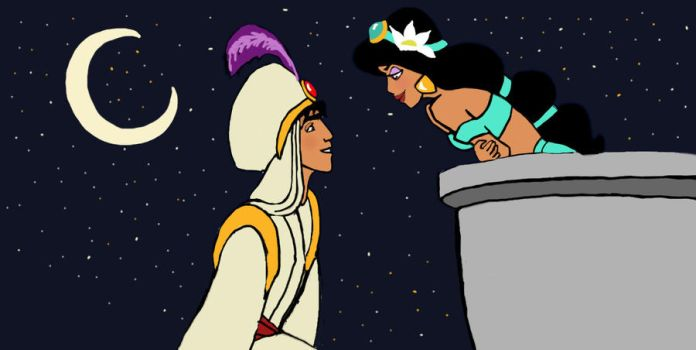 Aladdin and Jasmine FINISHED by CreativeChick92
