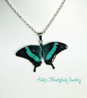 Emerald Swallowtail Butterfly Necklace by Sakiyo-chan