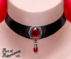 Sanguine Victorian Teardrop Satin Choker by ArtOfAdornment