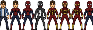 Spider-Man costumes by LoganWaynee