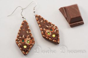 Hot Chocolate, Cappuccino and Flowers Earrings by DeidreDreams