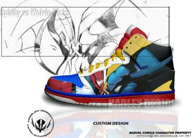Spidey VS Wolvie Kicks by HarleyTheProdigy