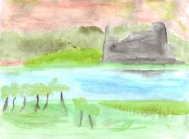 watercolour landscape I by xbertyx
