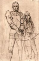 knight and female archer by dashinvaine