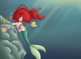 Ariel and Flounder by GildingofNightfall