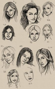 Timed Portrait Sketches 1 by Pseudolonewolf