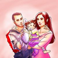 Commission: Alistair, Ashley, and Hannah Shepard by ladywinde