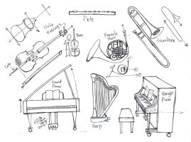 Draw Musical Instruments part 2 by Diana-Huang